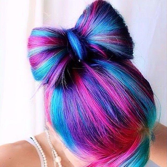 رنگ موی صورتی و بنفش و آبی